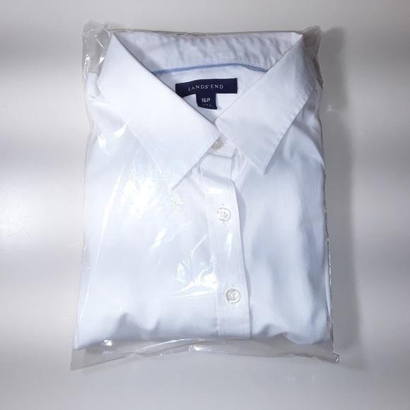 Lands' End Tops - Lands' End White Button Down Collar Oxford Shirt